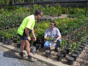 John McDonald giving advice to a grower.